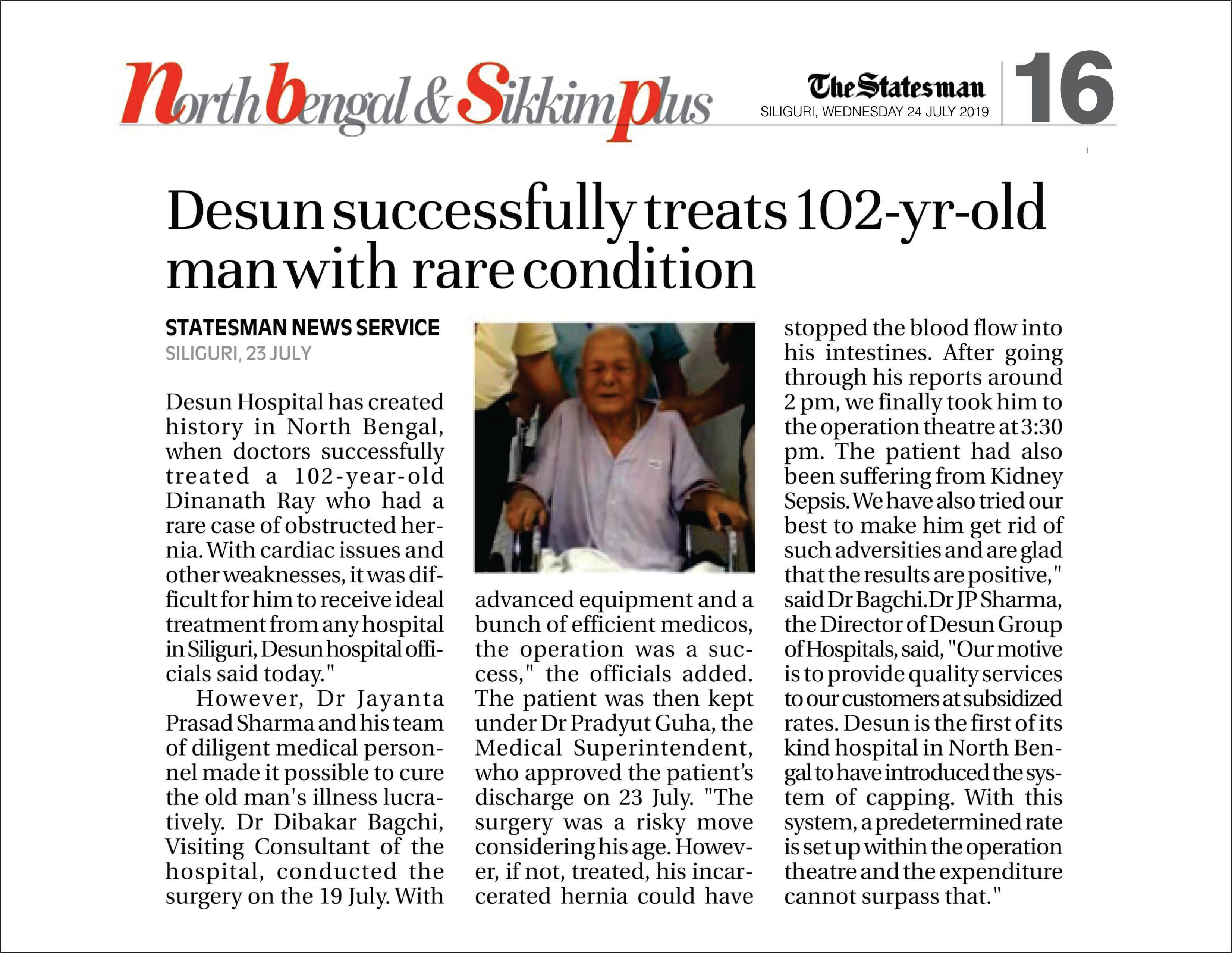 Desun successfully treats 102-yr-old-man with rare condition- The Statesman